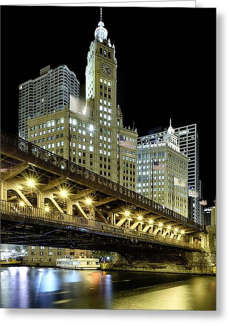 Clock Photographs Greeting Cards - Wrigley Building At Night Greeting Card by Sebastian Musial