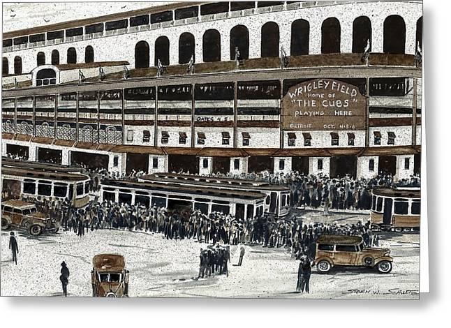 Wrigley Field Greeting Card by Steven Schultz