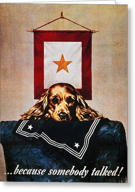 Careless Talk Greeting Cards - Wwii: Propaganda Poster Greeting Card by Granger