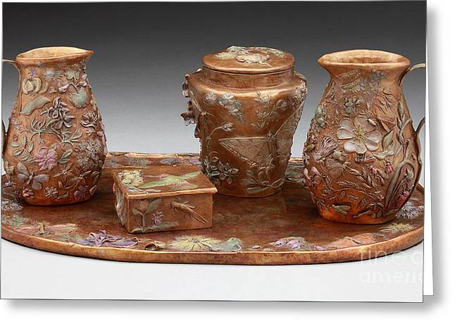 Bronze Reliefs Greeting Cards - Wyoming Wildflowers Bronze Set Greeting Card by Dawn Senior-Trask