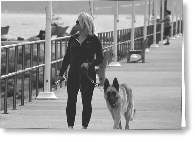 Dog Walker Greeting Cards - Santa Barbara Breakwater Greeting Card by Barbara Snyder