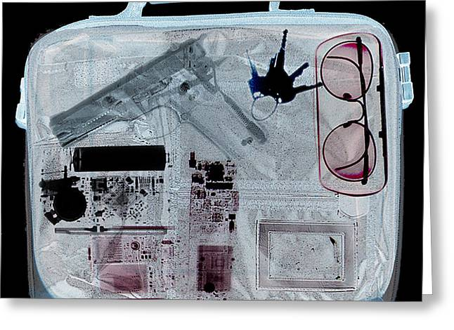 Terrorism Greeting Cards - X-ray Of A Briefcase With A Gun Greeting Card by Scott Camazine
