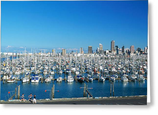 Buildings In The Harbor Greeting Cards - Yachts At Waitemata Harbor, Sky Tower Greeting Card by Panoramic Images