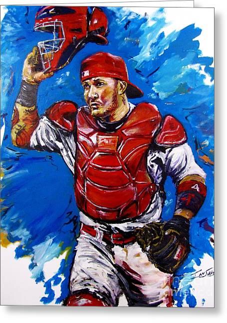 Baseball Paintings Greeting Cards - Yadi Greeting Card by Ian Sikes