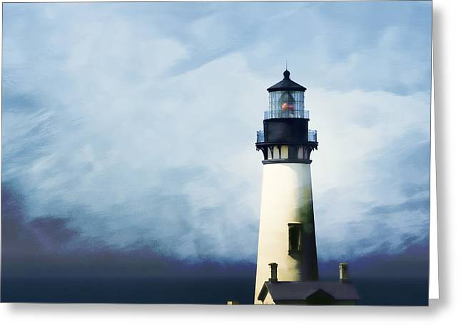 Headlands Greeting Cards - Yaquina Head Light Greeting Card by Carol Leigh