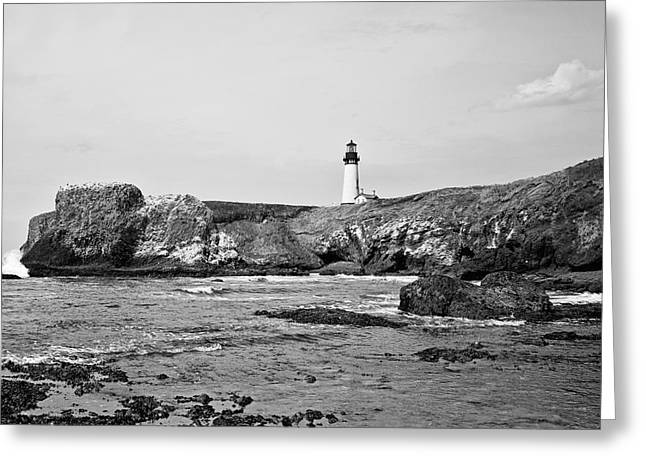 Yaquina Head Lighthouse Greeting Cards - Yaquina Head Lighthouse from the Beach Greeting Card by Scott Pellegrin