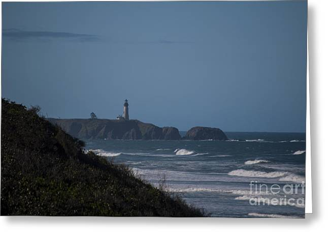 Newport Greeting Cards - Yaquina Head Lighthouse Greeting Card by Mandy Judson