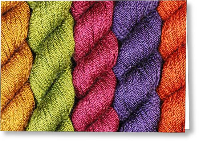 Purples Greeting Cards - Yarn With A Twist Greeting Card by Jim Hughes