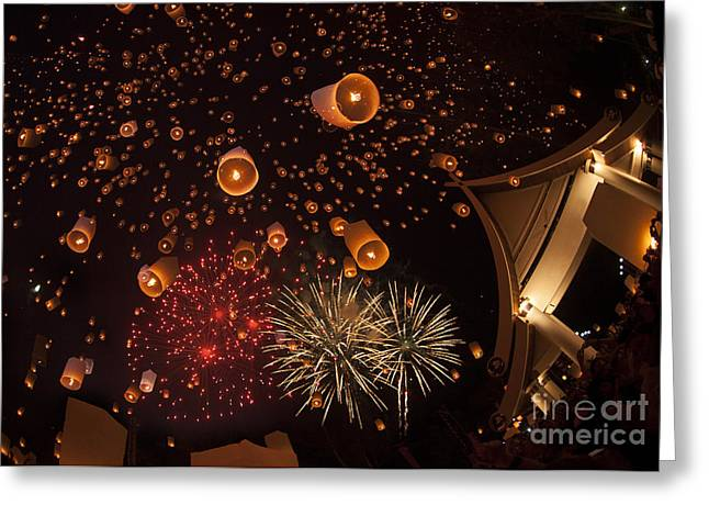 Fire Works Greeting Cards - Yeepeng festival  Greeting Card by Anek Suwannaphoom