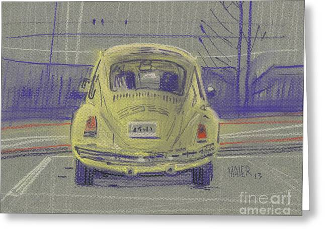 Vw Beetle Paintings Greeting Cards - Yellow Beetle Greeting Card by Donald Maier