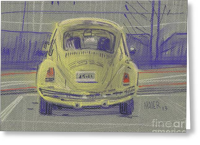 Yellow Beetle Greeting Card by Donald Maier