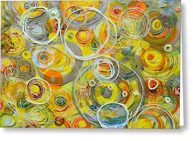 Counterpoint Greeting Cards - Yellow Counterpoint Greeting Card by Regina Valluzzi