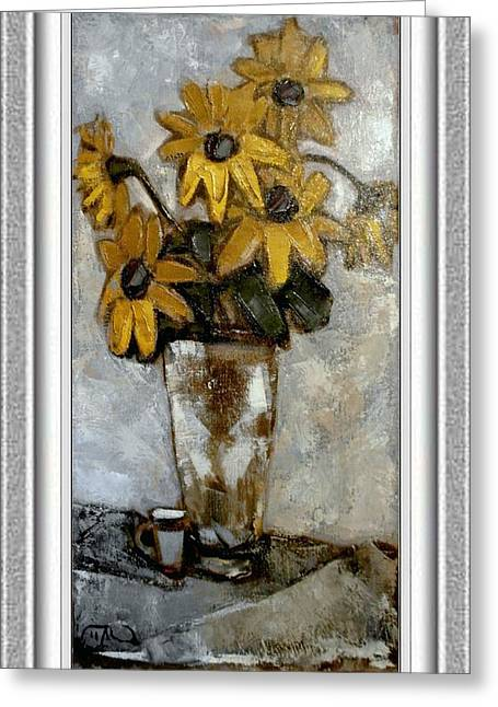 Floral Still Life Greeting Cards - Yellow flowers Greeting Card by Pemaro