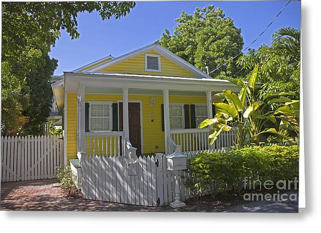 Yellow Key West Florida Cottage Greeting Card by John Stephens
