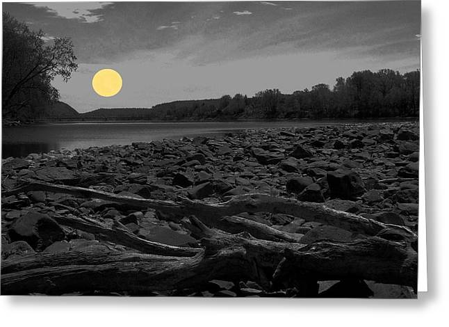White River Greeting Cards - Yellow Moon Greeting Card by Val Arie