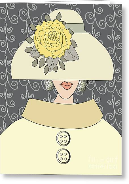 Green Swirl Hat Greeting Cards - Yellow Peony Flower Hat Greeting Card by Mira Dimitrijevic