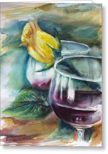 Spiegel Greeting Cards - Yellow Rose and Wine Greeting Card by Rita Spiegel