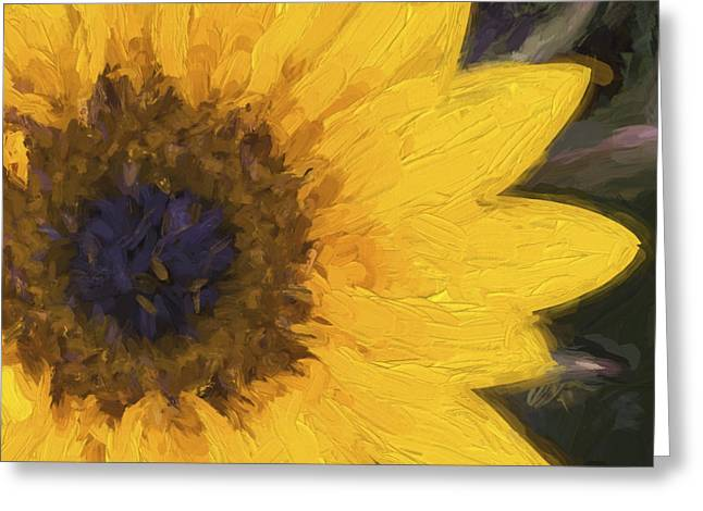 Chic Digital Greeting Cards - Yellow Sunflower Painterly Greeting Card by Carol Leigh