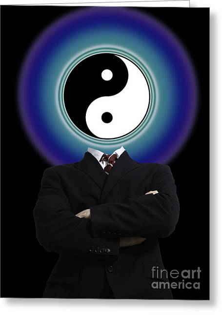 Yang Greeting Cards - Yin Yang In A Man Greeting Card by Monica Schroeder