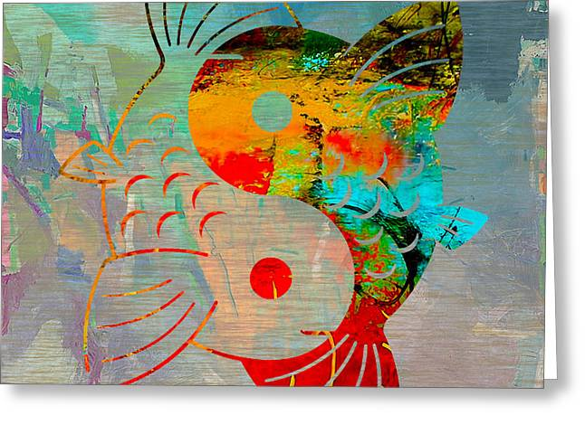 Yang Greeting Cards - Yin Yang Koi Greeting Card by Marvin Blaine