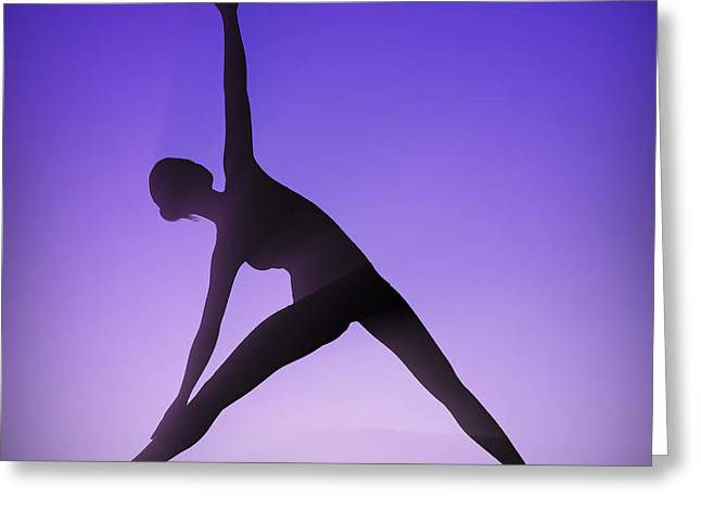 Flexibility Greeting Cards - Yoga Triangle Pose Greeting Card by Science Picture Co