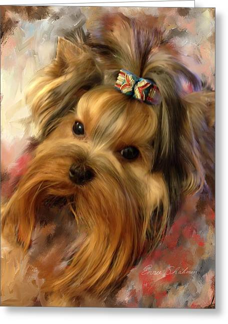 Toy Breeds Greeting Cards - Yorkie Portrait Greeting Card by Enzie Shahmiri