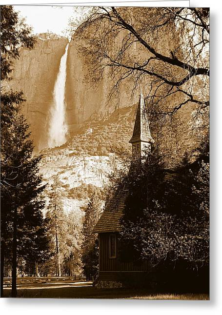 Reflections Of Trees In River Greeting Cards - Yosemite Chapel and Falls Greeting Card by Jeff Lowe