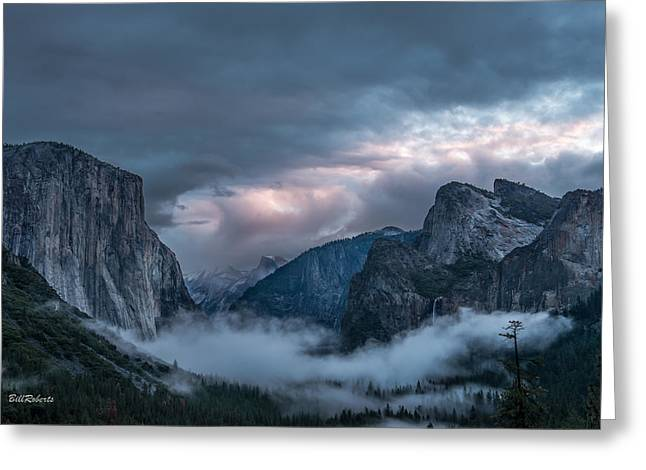 Yosemite In Clouds Greeting Card by Bill Roberts
