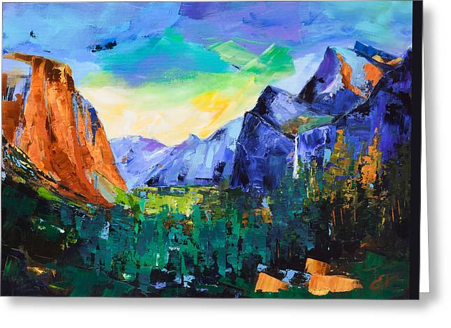 Picturesque Paintings Greeting Cards - Yosemite Valley - Tunnel View Greeting Card by Elise Palmigiani