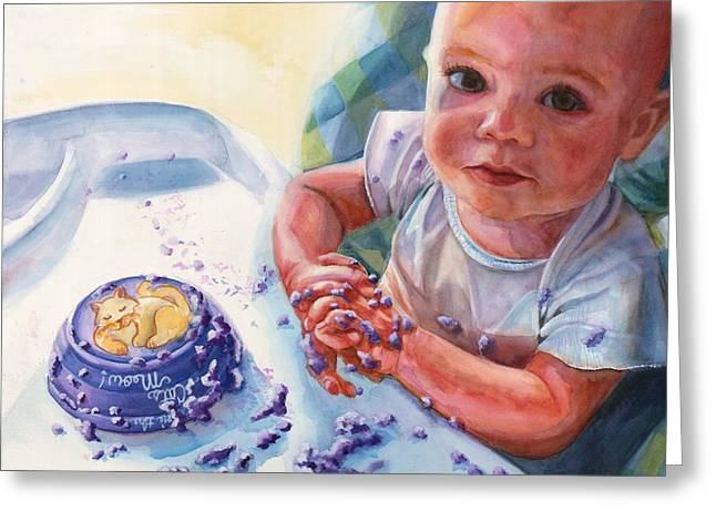Throwing Food Greeting Cards - You never liked purple food Greeting Card by Maureen Dean