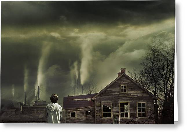 Evironment Greeting Cards - Young boy looking at dramatic scene in front of him Greeting Card by Sandra Cunningham