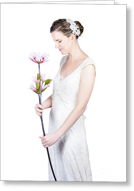 Youthful Photographs Greeting Cards - Young bride with flowers Greeting Card by Ryan Jorgensen
