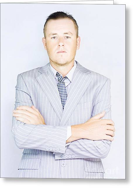 Young Businessman Front View Greeting Card by Jorgo Photography - Wall Art Gallery