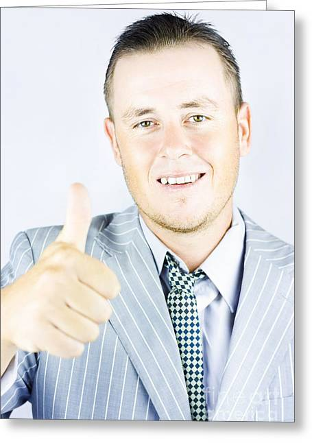 Young Businessman Giving Thumbs Up Greeting Card by Jorgo Photography - Wall Art Gallery