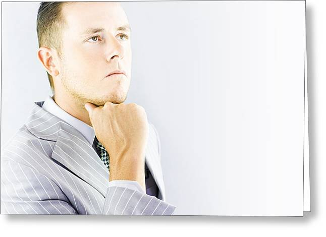 Introvert Greeting Cards - Young businessman looking thoughtful Greeting Card by Ryan Jorgensen