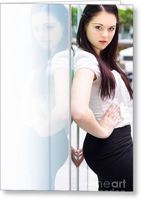 Young Career Smart Business Woman Turning Heads Greeting Card by Jorgo Photography - Wall Art Gallery