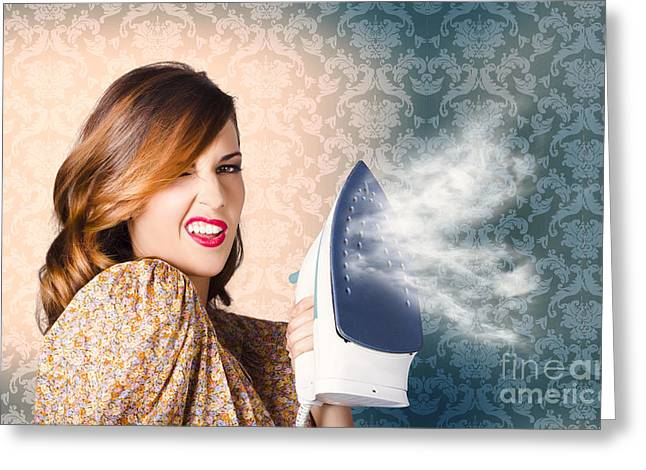 Housekeeper Greeting Cards - Young Cleaning Housewife With Hot Fashion Style Greeting Card by Ryan Jorgensen