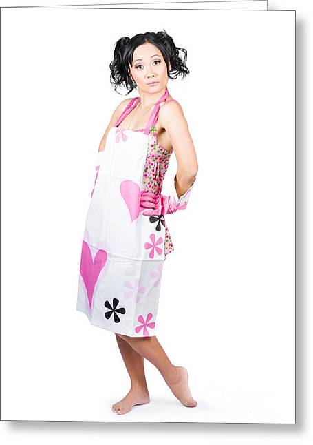 Housekeeper Greeting Cards - Young gorgeous housewife wearing cleaning apron Greeting Card by Ryan Jorgensen