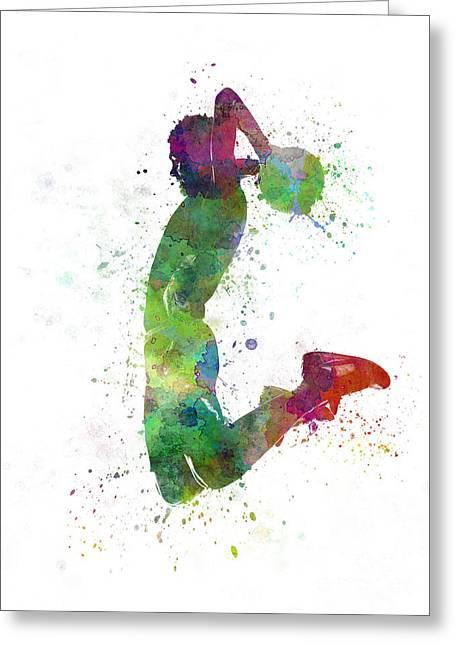 Basketball Player Paintings Greeting Cards - Young Man Basketball Player Dunking Greeting Card by Pablo Romero