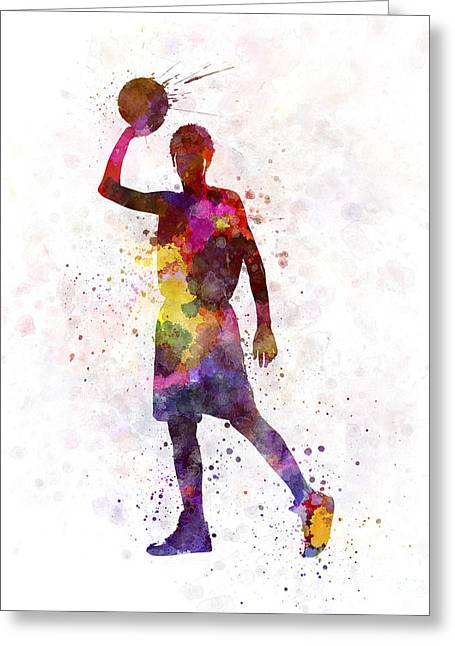 Basketball Paintings Greeting Cards - Young Man Basketball Player Greeting Card by Pablo Romero