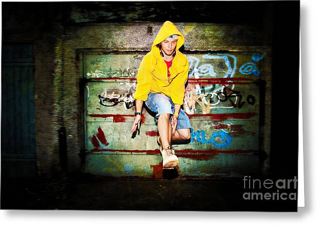 Adolescence Greeting Cards - Young man jumping on grunge wall Greeting Card by Michal Bednarek