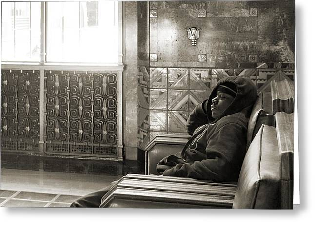 Young Man Sleeping In A Chair At Union Station In Los Angeles Greeting Card by Kim M Smith