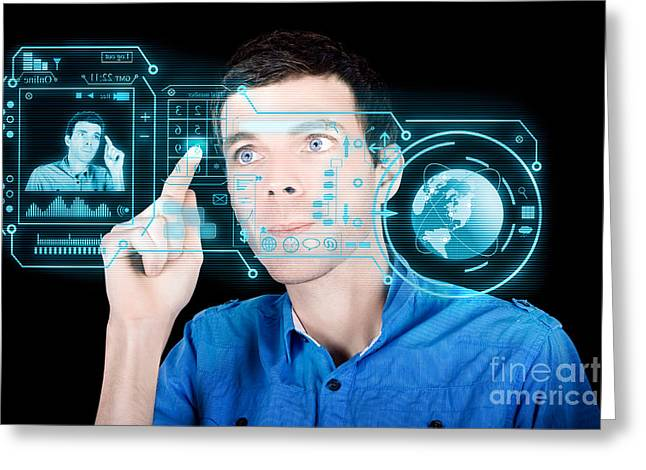 Virtual Network Greeting Cards - Young Man Using Futuristic Virtual Interface Greeting Card by Ryan Jorgensen
