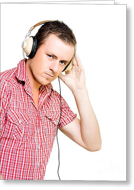 Absorb Photographs Greeting Cards - Young man wearing headphones Greeting Card by Ryan Jorgensen