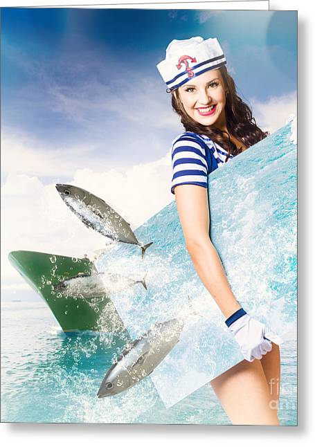 Young Navy Pin Up Model With Seafood Smorgasboard Greeting Card by Jorgo Photography - Wall Art Gallery