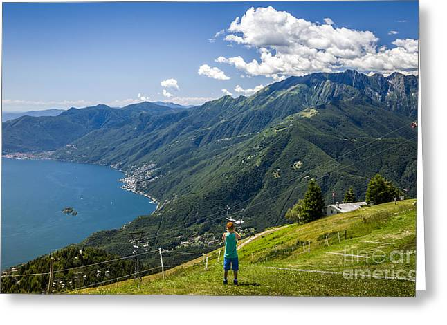 Ticino Greeting Cards - Young Photographer Greeting Card by Ning Mosberger-Tang
