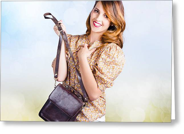 Shoulder Bag Greeting Cards - Young retro fashion model holding leather handbag Greeting Card by Ryan Jorgensen