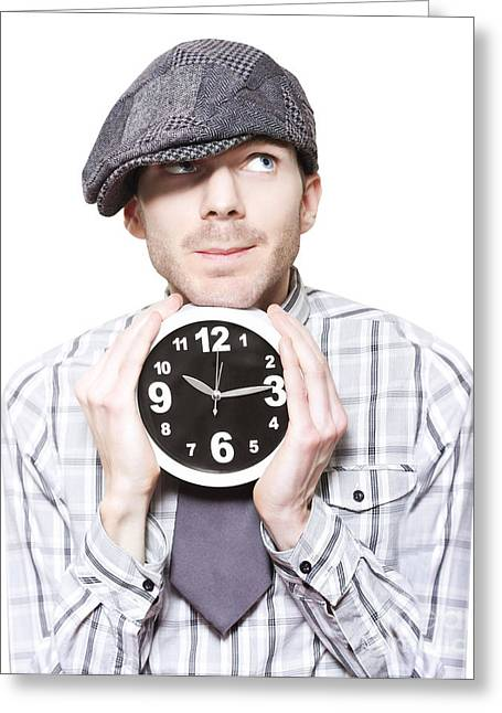 Young School Boy Watching Time While Holding Clock Greeting Card by Jorgo Photography - Wall Art Gallery