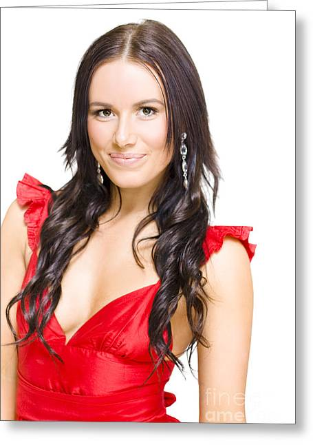 Evening Dress Greeting Cards - Young Sexy Woman With Brunette Hair In Red Dress Greeting Card by Ryan Jorgensen