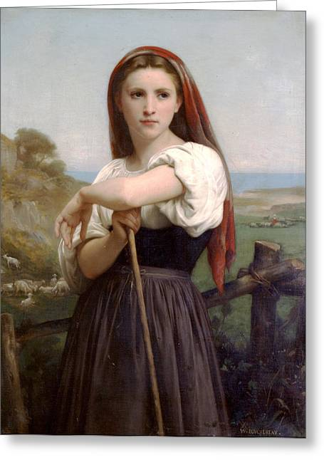 Young Lady Greeting Cards - Young Shepherdess Greeting Card by William Bouguereau